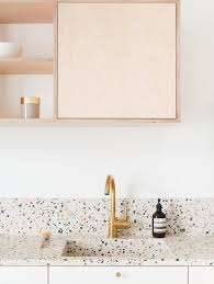 Scandinavian Kitchen With Terrazzo Countertop And Integrated Sink