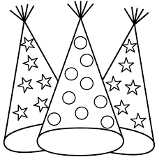 Birthday hat clipart black and white 4