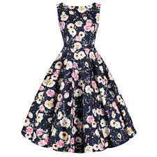 Navy Blue Floral Print Wrap Belt Sleeveless Audrey 50s Swing Dress