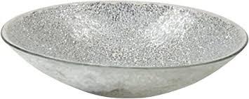 mosaik glas deko schale silber hellgrau