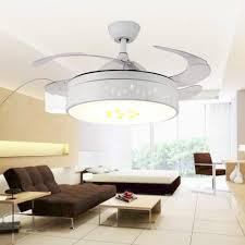 Get Quotations Lighting Groups Indoor Invisible Ceiling Fans With Lights And Remote 4 Retractable Blades Fan Chandelier