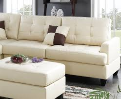 Poundex 3pc Sectional Sofa Set by Sectional Sofa 3pc In Beige Faux Leather By Boss