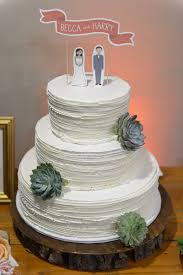 Rustic White Wedding Cake With Succulents And Custom Paper Topper