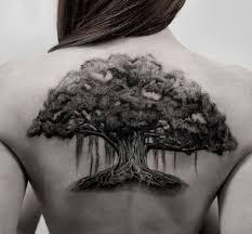 Large Oak Tree Tattoo On Girl Upper Back