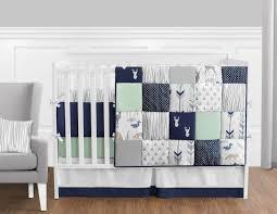 sweet jojo navy mint gray deer 9pc newborn baby boy crib bedding
