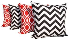 Modern outdoor pillows black white and red lips red white and