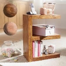 finebuy beistelltisch massivholz e cube 60cm hoch wohnzimmer tisch design braun landhaus couchtisch farbe wählbar