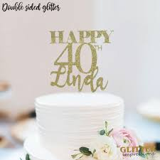 Personalized Name and Age Birthday Cake topper Cursive Font Glitter