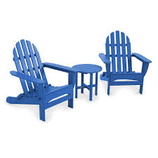 3 pc classic folding adirondack chair table set outdoor