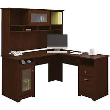 Staples Desk Corner Sleeve by Bush Furniture Cabot L Desk With Hutch Harvest Cherry Staples