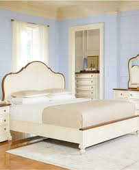 elegant white tufted bed by macys bedroom furniture with nightstand and dresser plus white grommet curtains