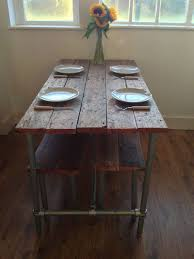 Reclaimed Wood And Industrial Pipe Table Benches