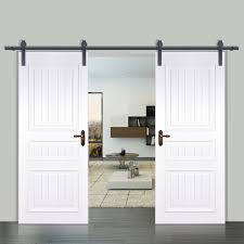Furniture: Top Hung Double Sliding Barn Door Hardware Track Wood ... Barn Door Track Trk100 Rocky Mountain Hdware Sliding Nice On Ragnar Kit 8ft Brushed Alinum Stainless How To Put A Back Diy You Dare Interior Flat Doors Ideas Amazoncom Yaheetech 12 Ft Double Antique Country Style Black Home Decor Wood Set Rustic Steel Roller Free Shipping Knobs The Shop National 1piece 72in Bipass Closet