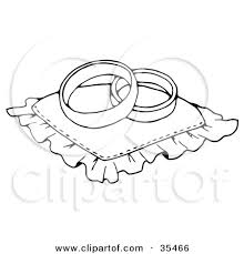 Clipart Illustration of Two Wedding Bands Resting A Ring Pillow by C Charley Franzwa
