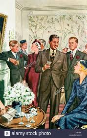 Cocktail Party 1937 Fashion Illustration Of Immaculately Dressed Ladies And Gentlemen At A Smart Gathering
