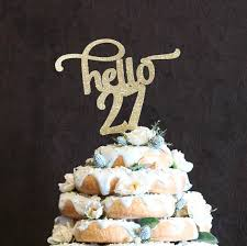 Birthday Party Hello 27 ANY AGE COLOR Cake Topper