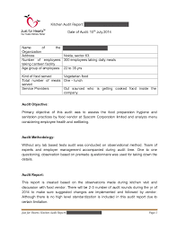 Just for Hearts Kitchen audit report Sample Draft