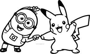 Minion Pikachu Dance Pokemon Coloring Page