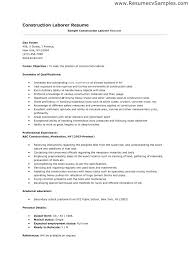 Construction Worker Resume Template Job Sample Objective Samples