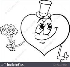 Valentine Heart With Flowers Coloring Page Royalty Free Stock Illustration