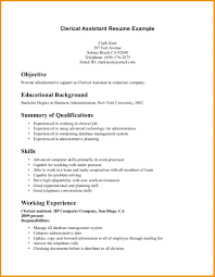 Resume Samples Objectives Clerical Sample Job And Template Example For Resumes Medical Administrative