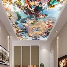 wohnzimmer decke 3d tapete malerei wand vinyl bodenbelag luxus heimwerker korridor decke boden 3d spiegel tapete