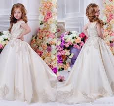 Arabic 2017 Floral Lace Flower Girl Dresses Ball Gowns Child Pageant