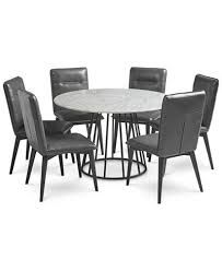 callisto marble round dining set 7 pc dining table 6 side