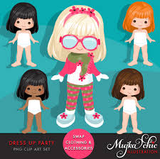 Dress Up Girl Clipart Paper Doll Graphic
