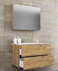 vcm 3 tlg waschplatz badmöbel badezimmer set waschtisch waschbecken schubladen keramik badinos spiegelschrank breite 80 cm honig eiche