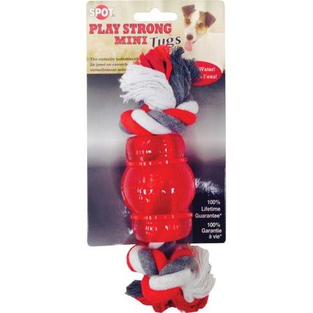 Ethical Play Strong Mini Tugs Chew Dog Toy - with Rope, Red, Small