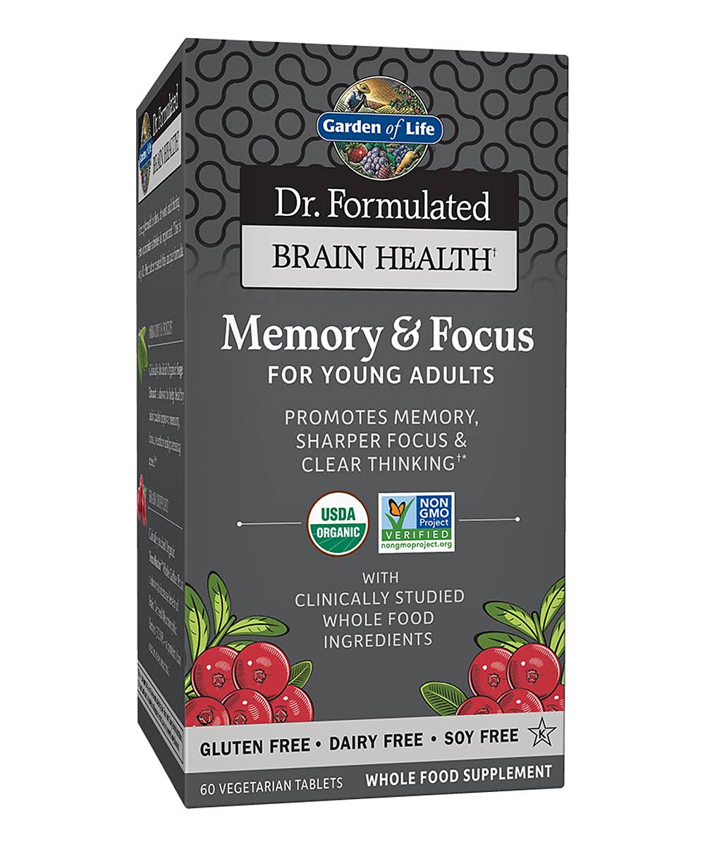 Garden of Life Dr. Formulated Brain Health Memory & Focus for Young Adults - 60 Vegetarian Tablets