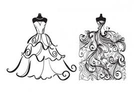 Wedding Dress clipart black and white 7