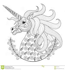 Hand Drawing Unicorn For Adult Anti Stress Coloring Pages Illustration 65683500