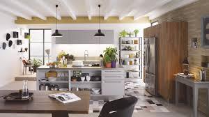 photos cuisine cuisine équipée industrielle avec îlot label métal bois cuisinella