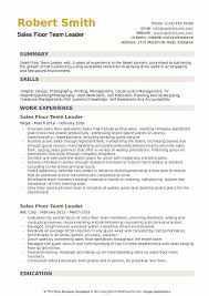 Sales Floor Team Leader Resume Example