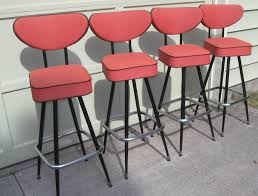 Image Of Red Mid Century Modern Bar Stools