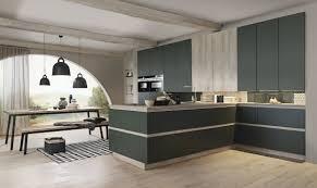 bauformat designküche mit halbinsel in grün und grifflosen