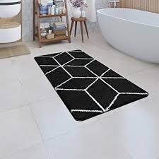 paco home badematte kurzflor teppich badezimmer karo rauten geometrisch skandi muster grösse 70x120 cm farbe schwarz
