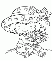 Great Strawberry Shortcake Coloring Page With Flowers Pages And Pdf