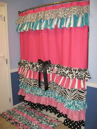 Pink And Purple Ruffle Curtains by Shower Curtain Cascading Ruffles Custom Designer Fabric Black Pink
