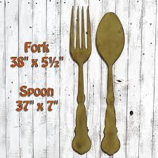 Wooden Fork And Spoon Wall Decor by Fork Wall Decor Fork Spoon Art Dining Room Decor Farmhouse