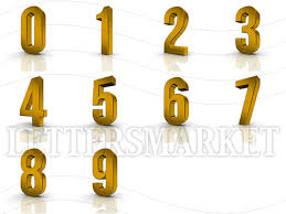 LettersMarket 3D gold Numbers from 0 to 9 isolated on a white