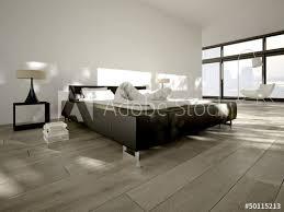 modernes schlafzimmer mit city ausblick poster