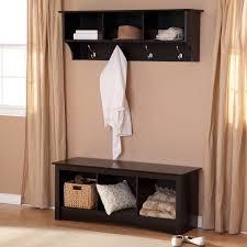 Prepac Sonoma Black Triple Cubby Bench Coat Rack Set