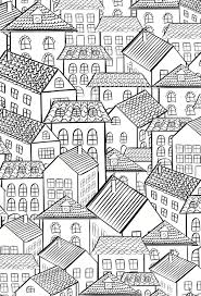 Houses Colouring Page Abstract Doodle Coloring Pages Adult Detailed Advanced Printable Kleuren Voor Volwassenen