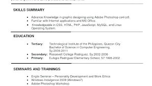 Pdf Resume Samples Format Of A For Job Application Sample Example
