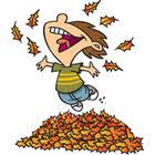 Cartoon Boy Jumping in Leaf Pile