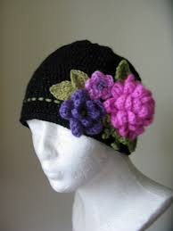 Knit Girls Hat with Pink Flowers Crochet Black Hat Children s Hand