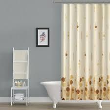 details zu textil polyester duschvorhang 120 x 200 cm beige braun creme kreisen inkl ringe